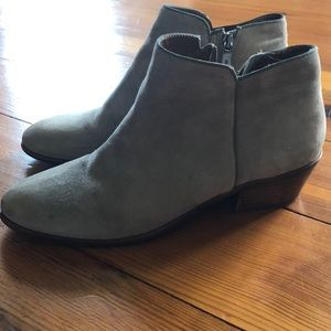 Suede ankle boots.
